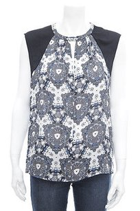 A.L.C. Alc Navy White Abstract Top Blue
