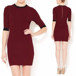 A.L.C. short dress Burgundy Knit Ribbed Sweater Fitted on Tradesy