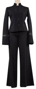 Alessandro Dell'Acqua Alessandro Dellacqua Womens Black Striped Pants Suit 4244 Polyester Trouser