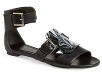 Alexander McQueen Buckle Vamp Black Sandals