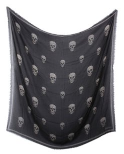 Alexander McQueen Black and White Floral Skull Scarf