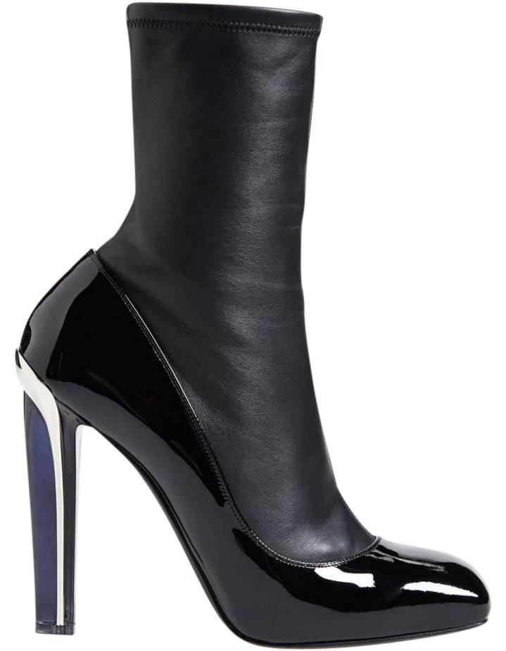 Alexander Leather McQueen Black New Stretch Leather Alexander Patent Leather Lacquered-heel Boots/Booties Size EU 39 (Approx. US 9) Regular (M, B) 2372f9