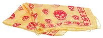Alexander McQueen McQueen Yellow and Red Skull Print Sheer Scarf . Look Like New