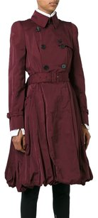 Alexander McQueen Burgundy Silk Belted Pleated Pea Trench Jacket 426m Pea Coat