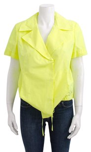 Alexander McQueen Marni Neon Yellow Green Silk Top Pink