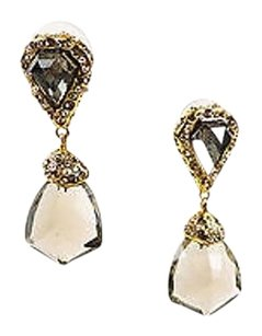 Alexis Bittar Alexis Bittar Gold Tone Rhinestone Gray Crystal Drop Earrings