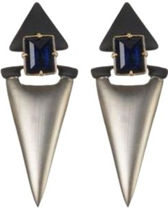 Alexis Bittar ALEXIS BITTAR LUCITE CHARCOAL DANGLING GEO CLIP-ON DROP EARRINGS