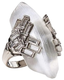 Alexis Bittar NEW! ALEXIS BITTAR SILVER LUCITE BAGUETTE STEPPED COCKTAIL RING