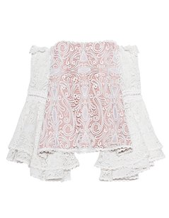 Alexis Lace Frill Crochet Bell Sleeve Top White