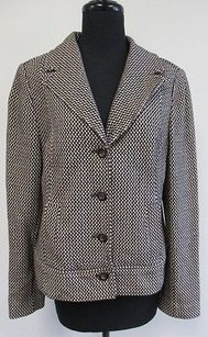 Alfani Brown White Geo Print Multi-Color Jacket