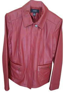 Alfani Real 100% Leather Red Leather Jacket