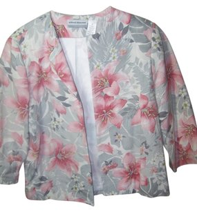 Alfred Dunner pink gray cream floral Blazer