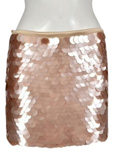 Alice + Olivia Womens Pink Straight Sequined Above Knee Silk Skirt Peach
