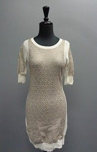 AllSaints short dress Beige And Gold All Textured Mini Sweater Cotton Blend Sma8546 on Tradesy