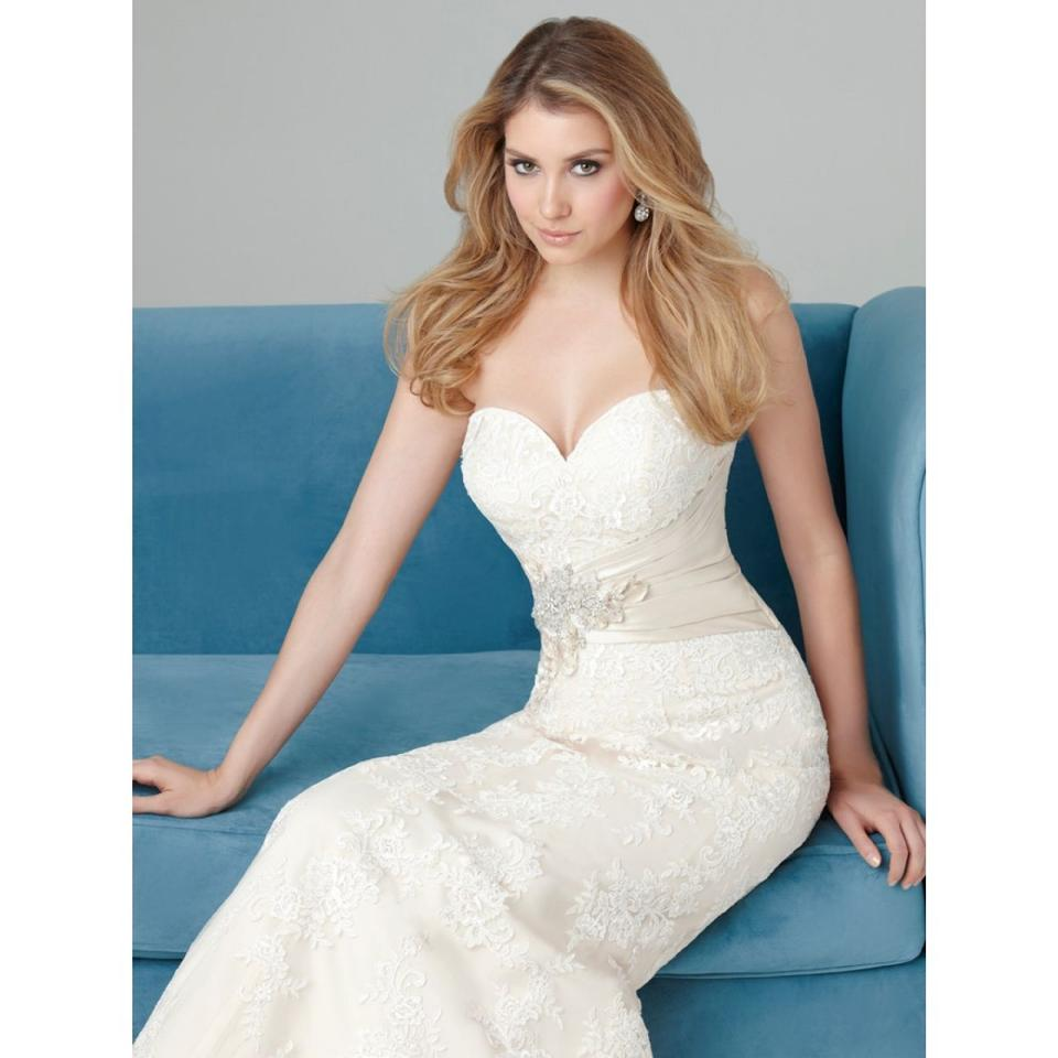 Allure Bridals Ivory/Silver Lace Applique 2569 Traditional Wedding ...