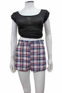 American Apparel Navy Red White Plaid Basic Tap Shorts Multi-Color