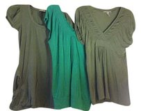 American Rag Pockets Rauched T Shirt Army Green and teal