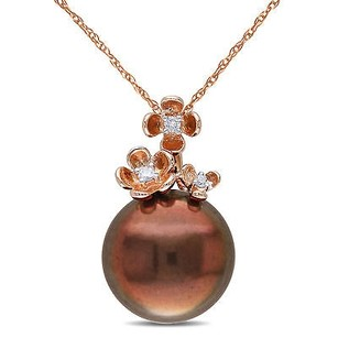 Amour 10k Pink Rose Gold Chocolate Brown Pearl And Diamond Pendant Necklace 17