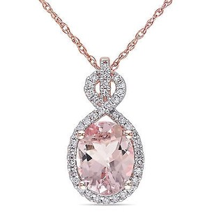 Amour 10k Rose Gold Morganite And 16 Ct Tdw Diamond Pendant Necklace G-h I1-i2 17