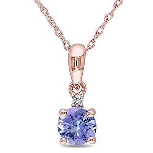 Amour 10k Rose Gold Tanzanite And Diamond Accent Pendant Necklace G-h I2-i3 17