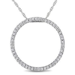 Amour 10k White Gold 14 Ct Diamond Circle Pendant Necklace I-j I2-i3 17 Chain