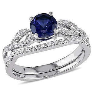 Amour 10k White Gold Blue Sapphire And 16 Ct Tdw Diamond Bridal Ring Set G-h I1-i2