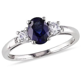 Amour 10k White Gold Oval Blue And White Sapphire Diamond Accent 3-stone Ring