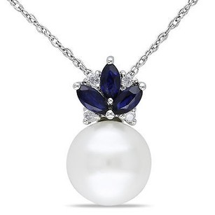 Amour 10k White Gold Pearl Sapphire Diamond Pendant Necklace H-i I2-i3 8.5-9 Mm 17