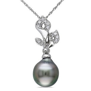 Amour 10k White Gold Tahitian Pearl And Diamond Flower Pendant Necklace 17