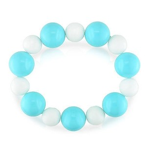 Amour 12-16 Mm White Jasper Turquoise Color Glass Beads Elastic Bracelet 8