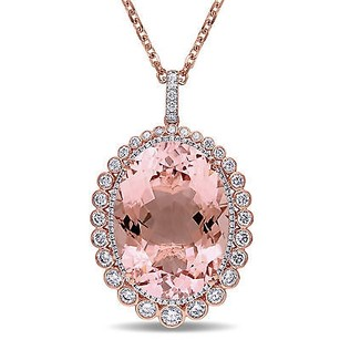 Amour 14k Rose Gold Morganite 58 Ct Tdw Diamond Pendant Necklace G-h Si1-si2 17