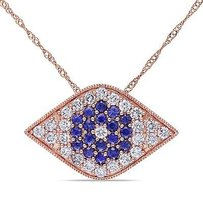 Amour 14k Rose Gold Sapphire And 58 Ct Tdw Diamond Pendant Necklace G-h Si1-si2 17