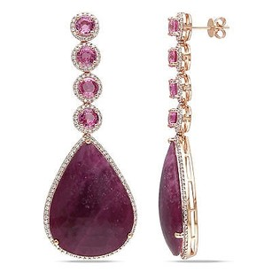 Amour 14k Rose Pink Gold Sapphire And 1 14 Ct Tdw Diamond Earrings G-h Si1-si2