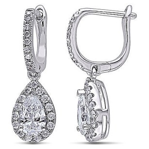 Amour 14k White Gold 1 25 Ct Tdw Certified Diamond Dangle Earrings F-g Si1-si2