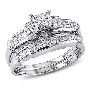 Amour 14k White Gold 1 Ct Tdw Diamond Bridal Ring Set G-h I1-i2
