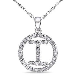 Amour 14k White Gold 12 Ct Tdw Diamond I Initial Pendant Necklace G-h Si1-si2 18