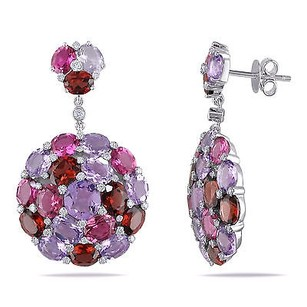 Amour 14k White Gold Multi-gemstone And 25 Ct Tdw Diamond Earrings G-h I1-i2