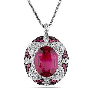 Amour 14k White Gold Rubelite 78 Ct Tdw Diamond Pendant Necklace G-h Si1-si2 17