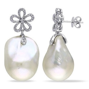 Amour 14k White Gold White Pearl And 13 Ct Tdw Diamond Earrings G-h Si1-si2 14-15 Mm