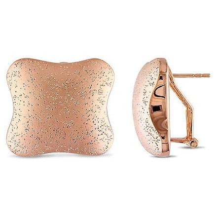 Amour 18k Goldplated Cushion-shaped Clipback Earrings With Matte And Sparkling Finish