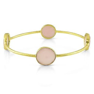 Amour 22k Yellow Goldplated Ct Tgw Synthetic Rose Quartz Bangle Bracelet 8