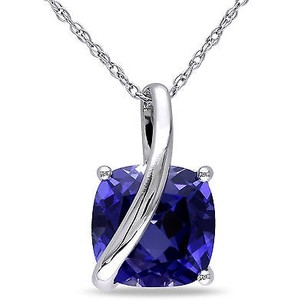 Amour Amour 10k Gold Cushion Square Created Blue Sapphire Pendant Necklace 17