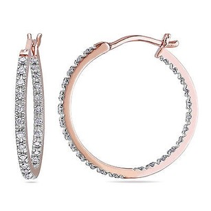 Amour Amour 10k Rose Pink Gold 14 Ct Tdw Diamond Hoop Earrings H-i I2-i3