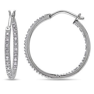 Amour Amour 10k White Gold 14 Ct Tdw Diamond Hoop Earring H-i I2-i3