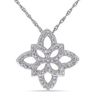 Amour Amour 10k White Gold 14 Ct Tdw Diamond Pendant Necklace H-i I2-i3 17