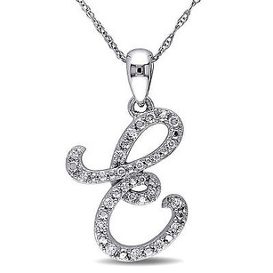 Amour Amour 10k White Gold 16 Ct Tdw Diamond E Initial Pendant Necklace G-h I1-i2 17