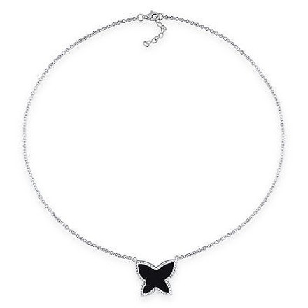 Amour Amour 10k White Gold Black Onyx And Cubic Zirconia Butterfly Necklace 18