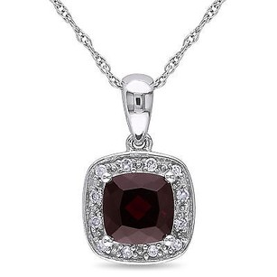 Amour Amour 10k White Gold Garnet And Diamond Accent Pendant Necklace G-h I2-i3 17