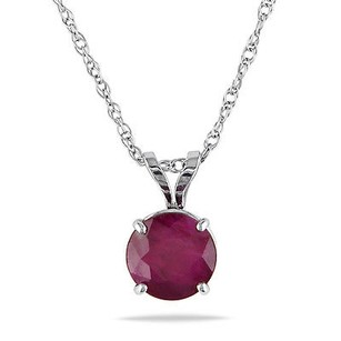 Amour Amour 10k White Gold Ruby Solitaire Pendant Necklace 17