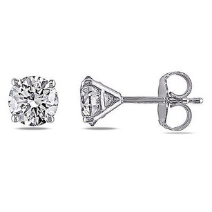 Amour Amour 14k White Gold 1 12 Ct Tdw Diamond Stud Earrings G-h Si1-si2